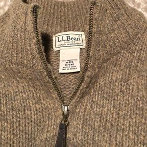 LL Bean 100% Lambswool full zip sweater